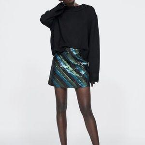 Zara black knit oversized top sweater